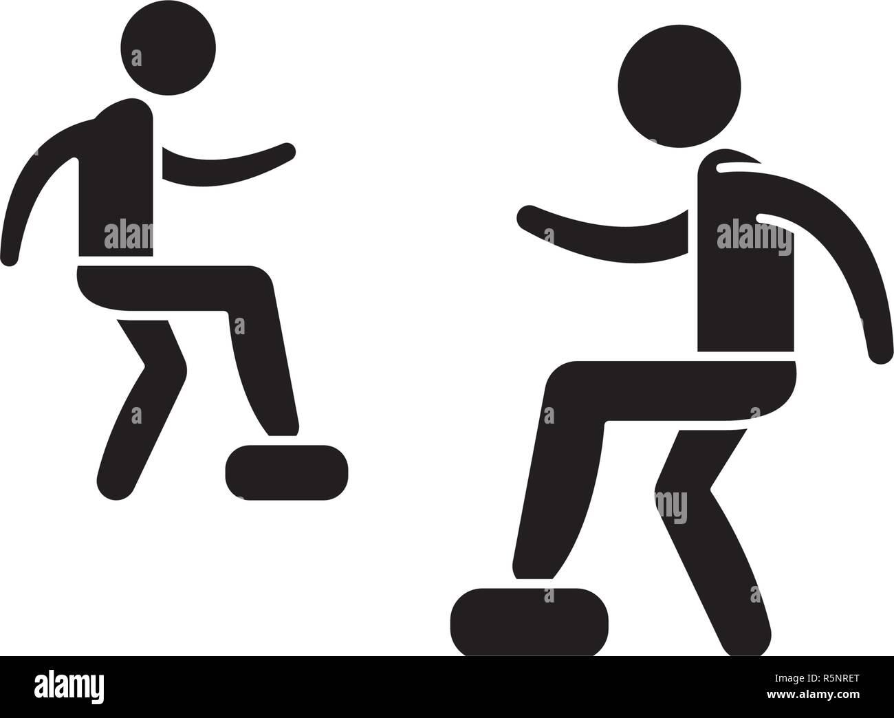 Cardio exercise black icon, vector sign on isolated background. Cardio exercise concept symbol, illustration  - Stock Image