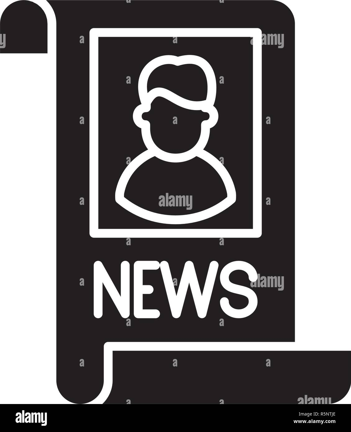 Latest news black icon, vector sign on isolated background. Latest news concept symbol, illustration  - Stock Image