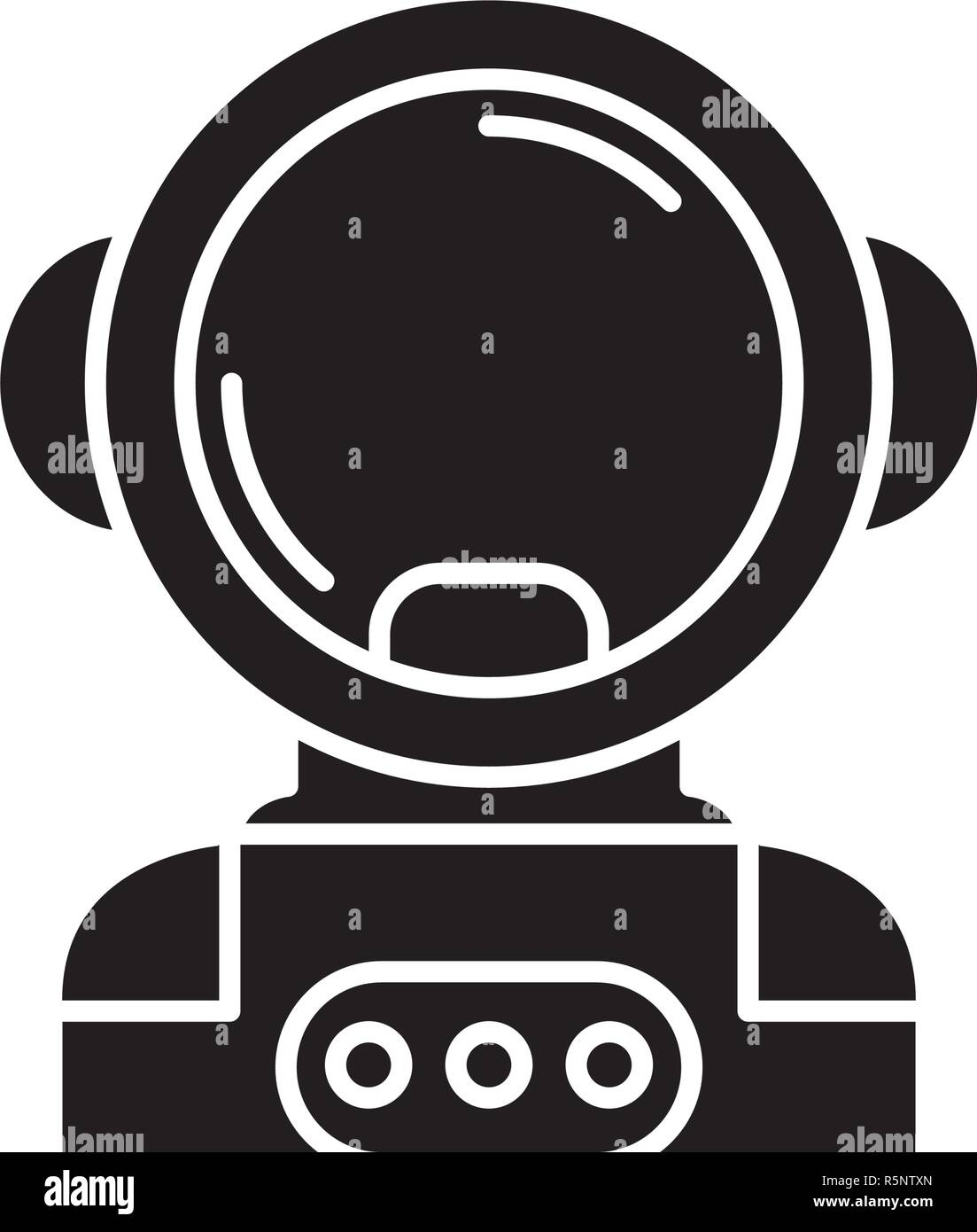 Cosmonaut in space black icon, vector sign on isolated background. Cosmonaut in space concept symbol, illustration  - Stock Image