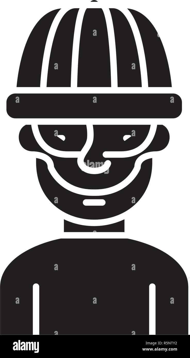 Robber black icon, vector sign on isolated background. Robber concept symbol, illustration  - Stock Vector