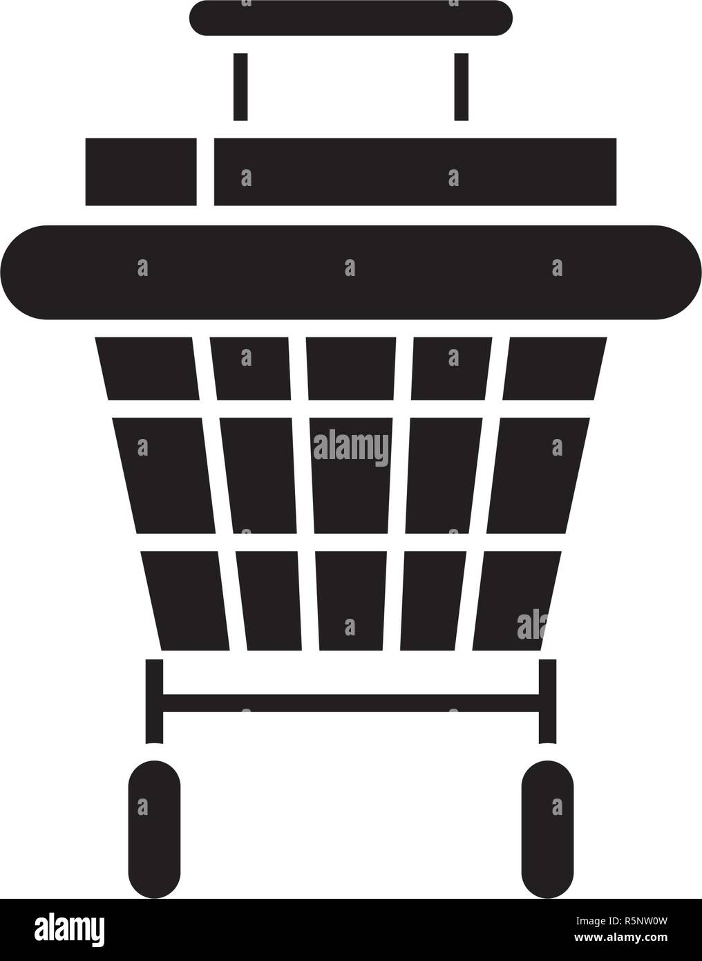 Shopping stroller black icon, vector sign on isolated background. Shopping stroller concept symbol, illustration  - Stock Vector