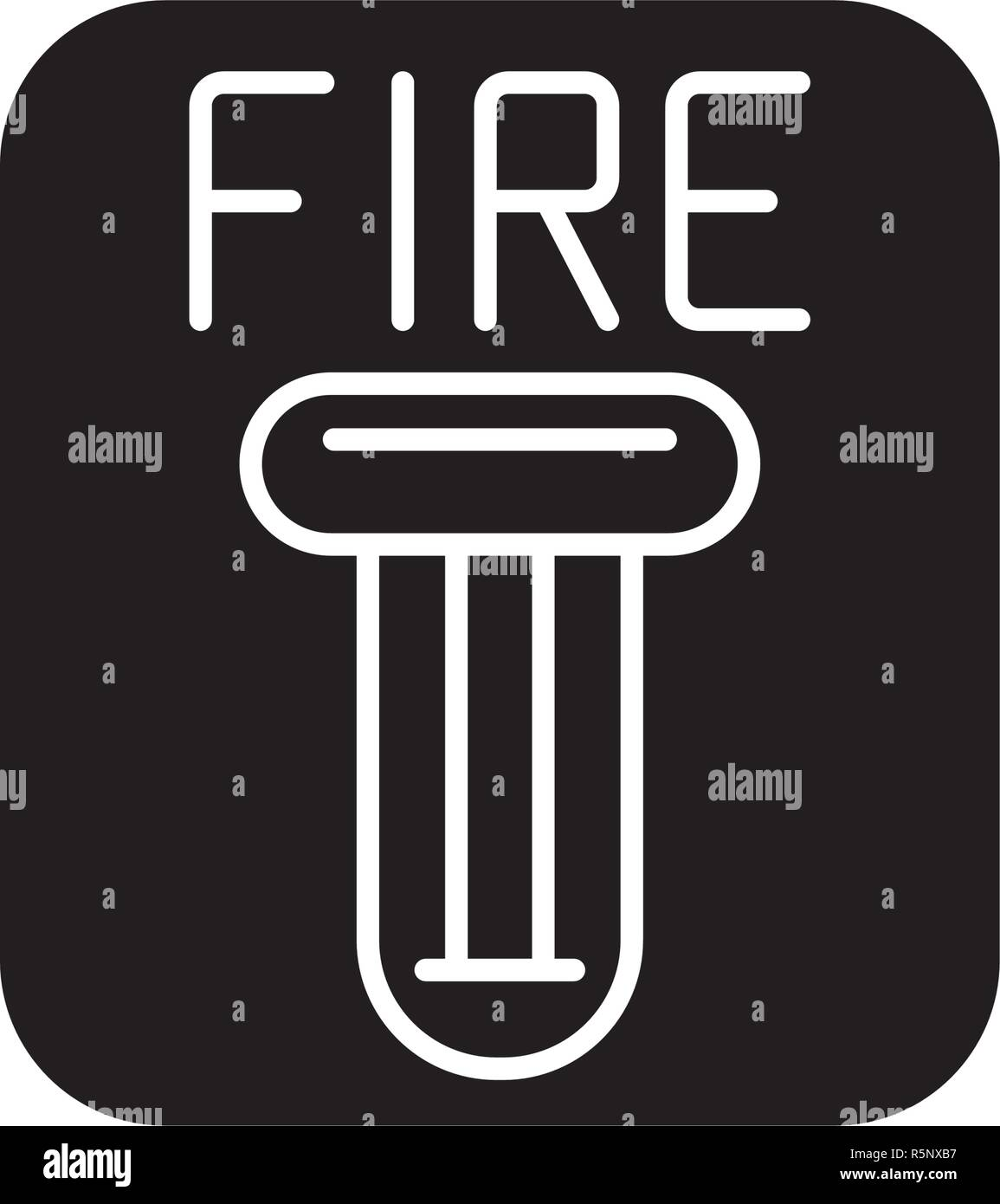 Fire safety black icon, vector sign on isolated background. Fire safety concept symbol, illustration  - Stock Image