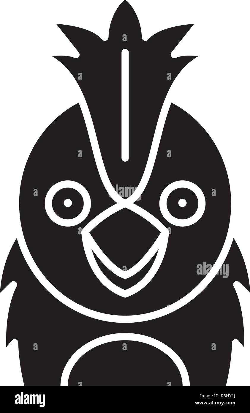 Funny parrot black icon, vector sign on isolated background