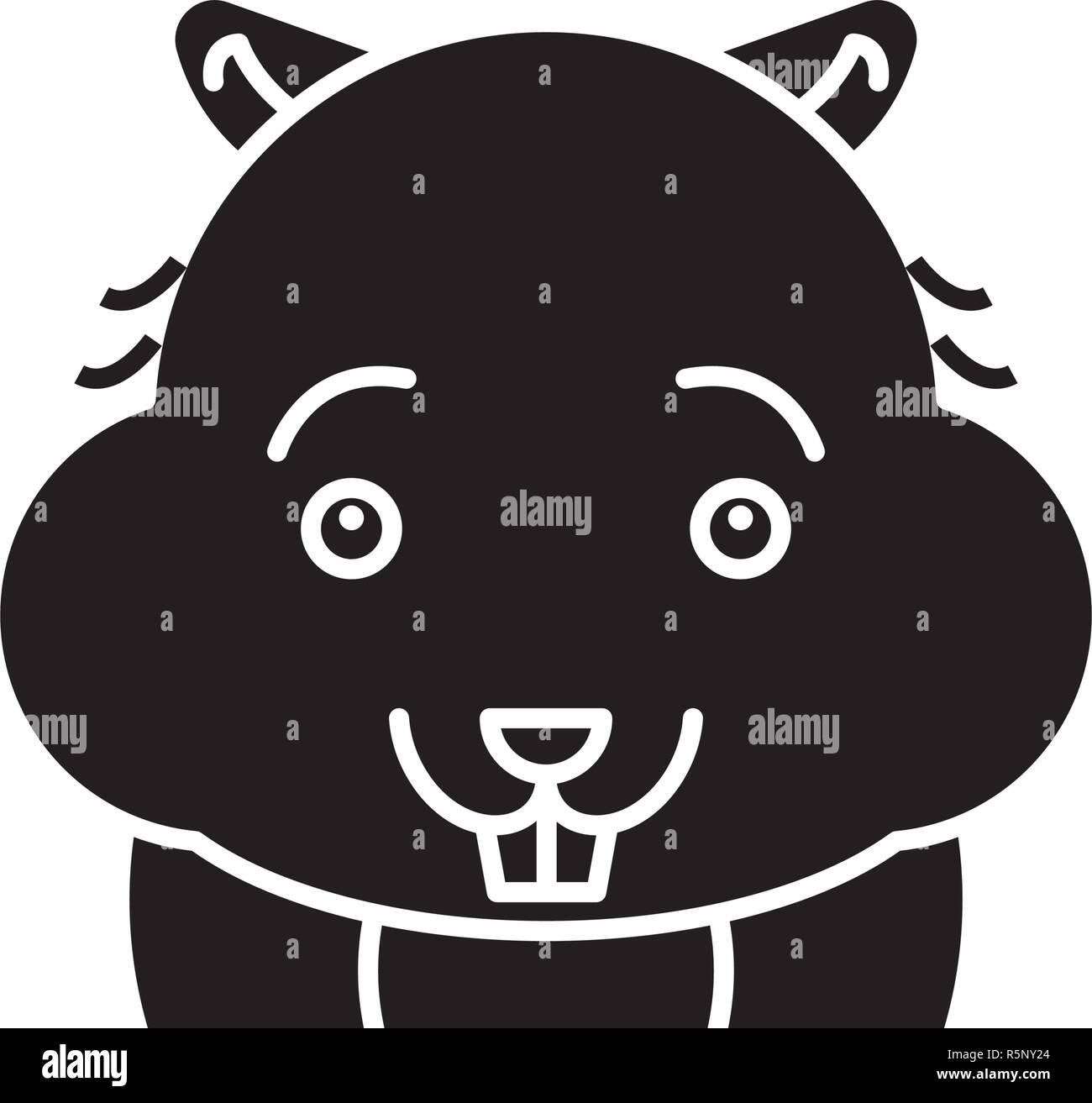 Cute hamster black icon, vector sign on isolated background. Cute hamster concept symbol, illustration  - Stock Vector