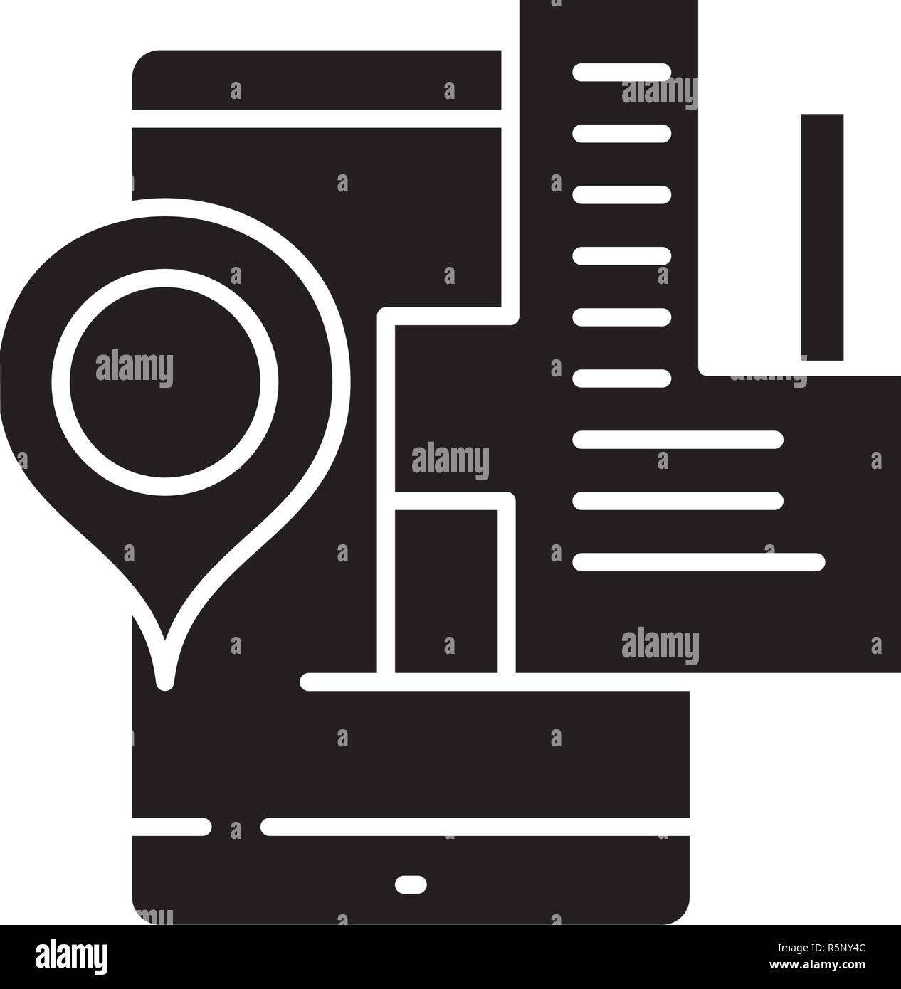 Geolocation system black icon, vector sign on isolated background. Geolocation system concept symbol, illustration  - Stock Vector