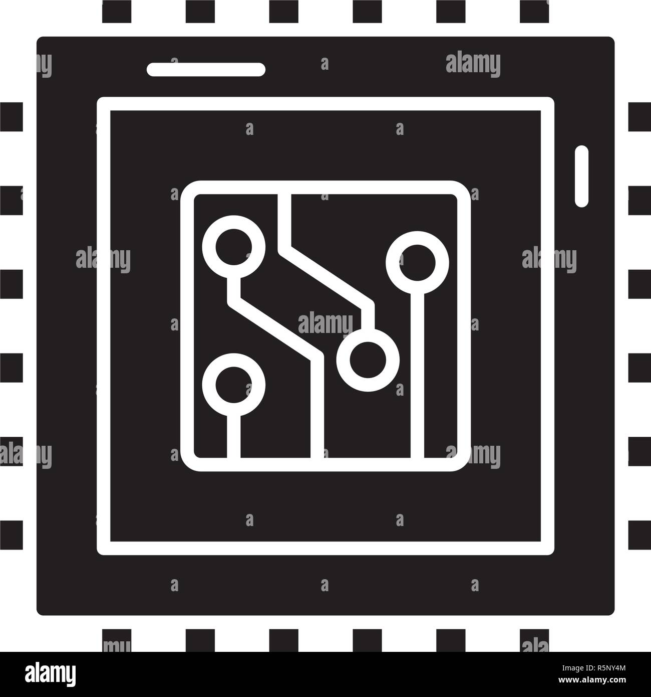 Digital production black icon, vector sign on isolated background. Digital production concept symbol, illustration  - Stock Image