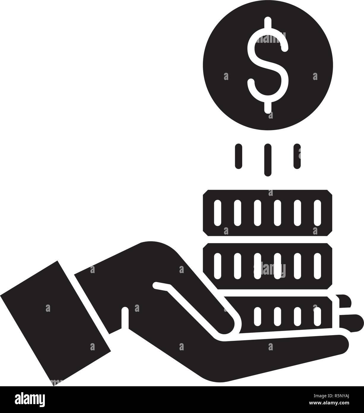 Sponsorship money black icon, vector sign on isolated background. Sponsorship money concept symbol, illustration  - Stock Image