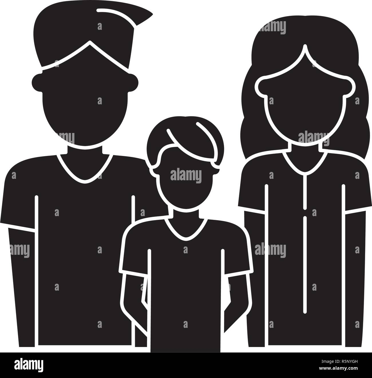 Young family black icon, vector sign on isolated background. Young family concept symbol, illustration  - Stock Vector