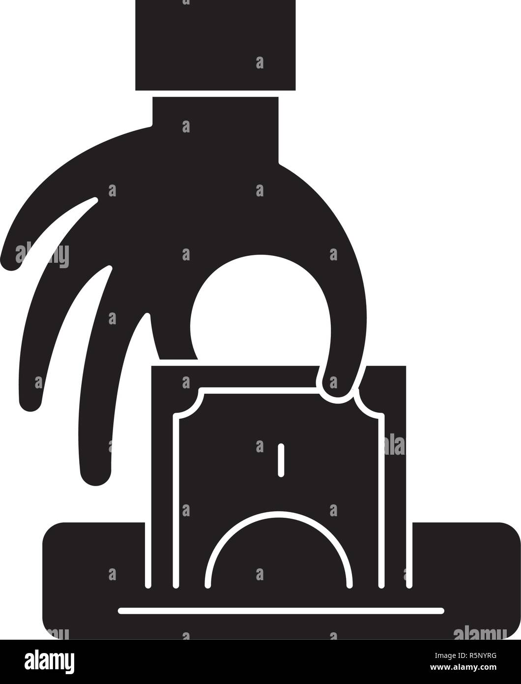 Theft black icon, vector sign on isolated background. Theft concept symbol, illustration  - Stock Vector