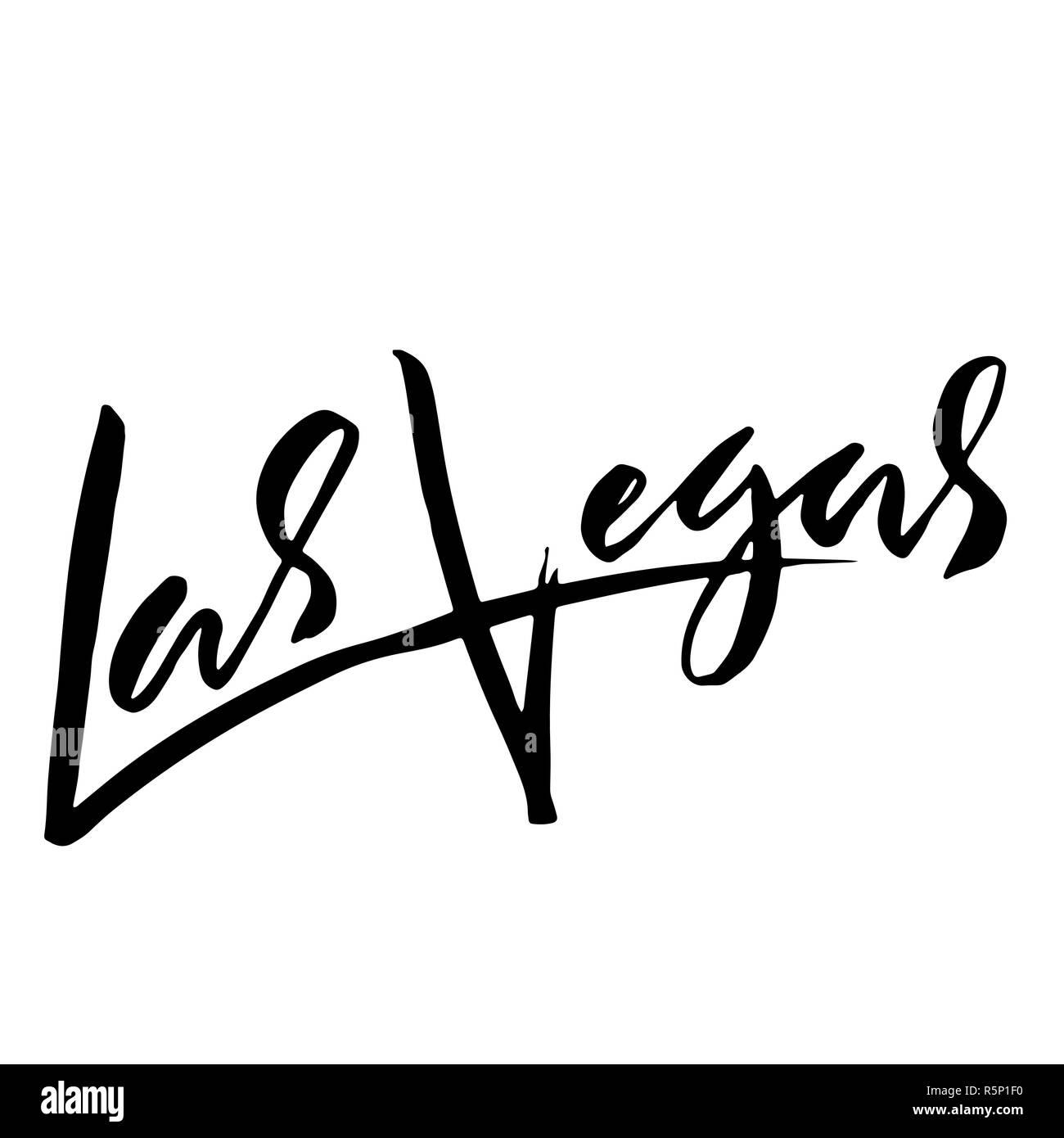 Las Vegas, USA  Typography dry brush lettering design  Hand drawn