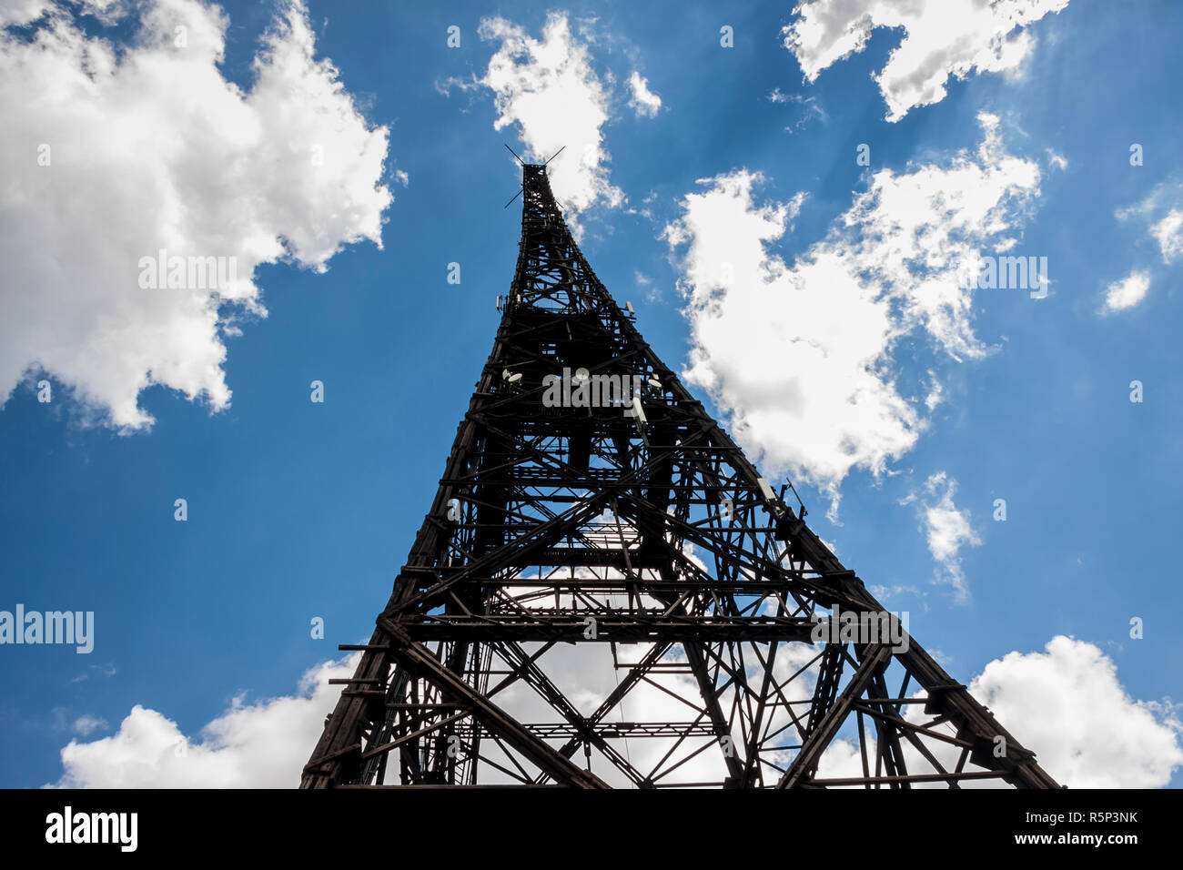 Historic radiostation tower in Gliwice, Poland (the highest wooden building on the world - 111m). The place of Nazi provocation on August 31, 1939. - Stock Image