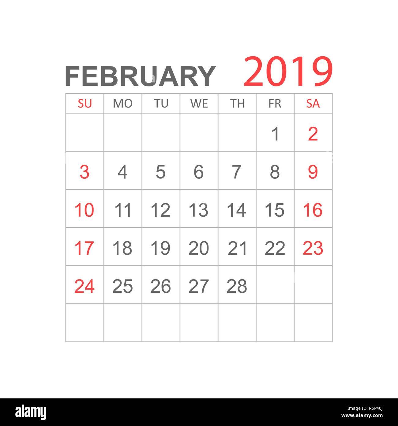 February 2019 Calendar Agenda Calendar february 2019 year in simple style. Calendar planner