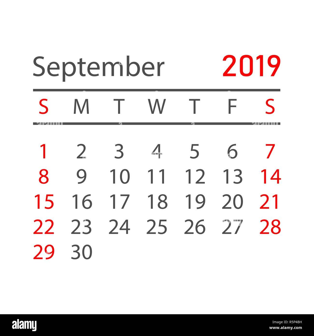 Calendar Planner September 2019.Calendar September 2019 Year In Simple Style Calendar Planner