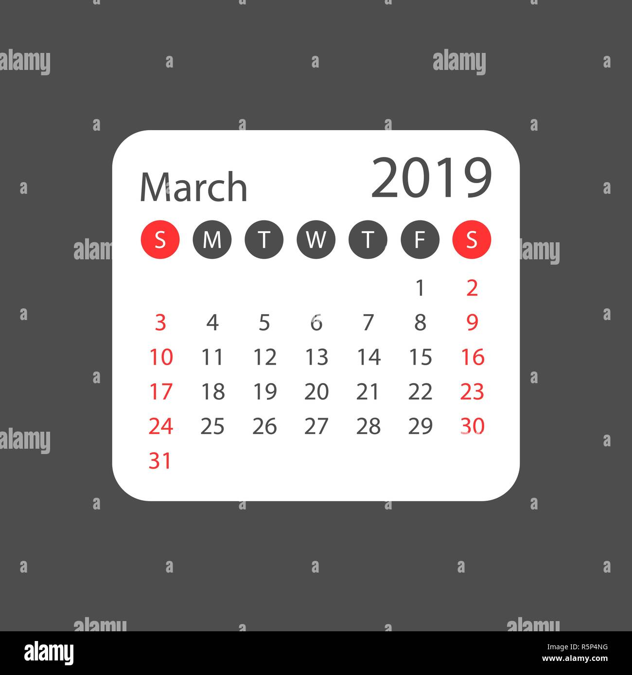 Calendar march 2019 year in simple style. Calendar planner design template. Agenda march monthly reminder. Business vector illustration. Stock Vector