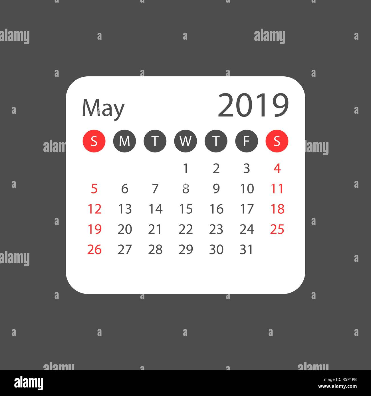 Calendar may 2019 year in simple style  Calendar planner