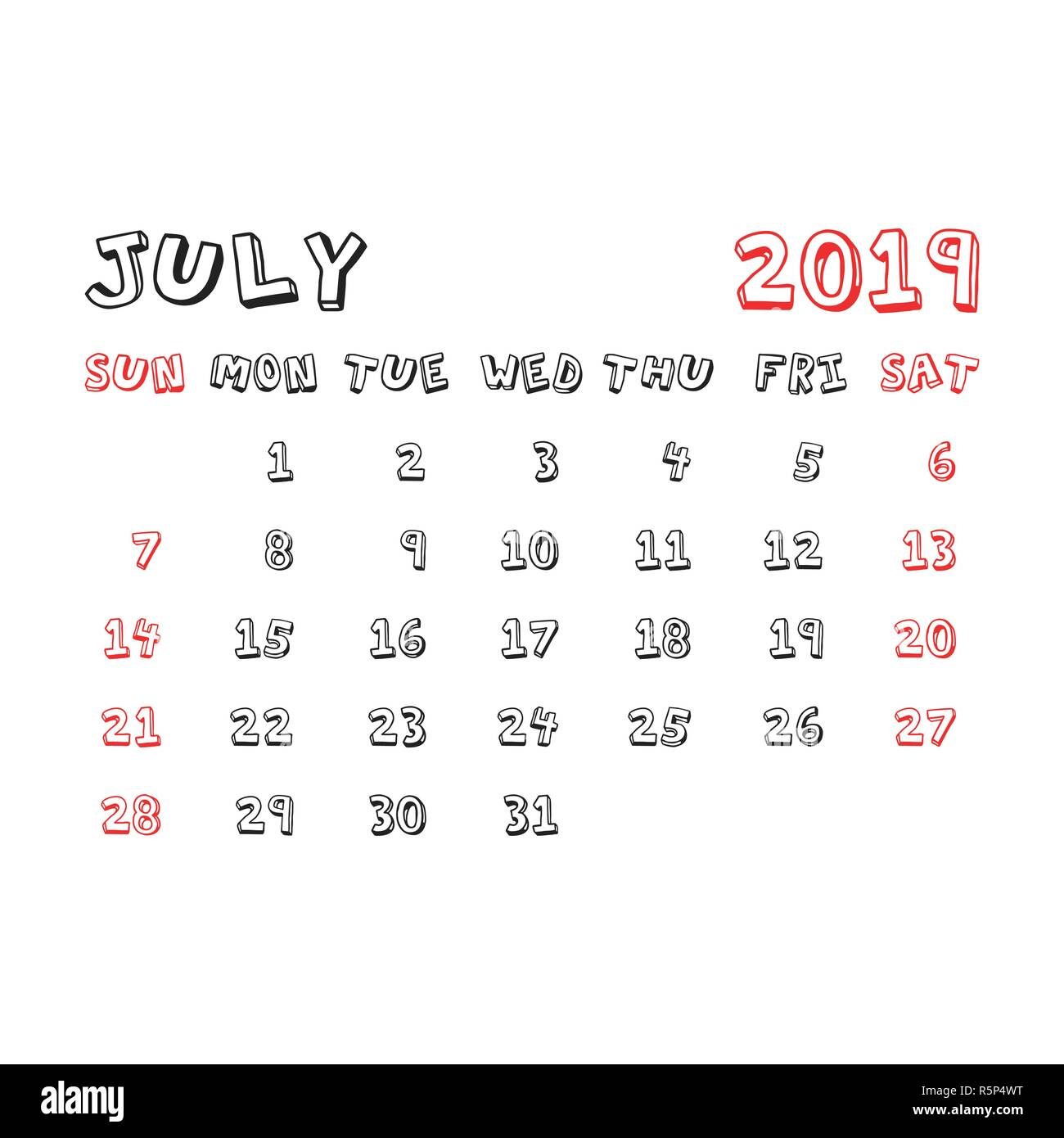 Calendario Julio 2019 Vector.Calendar July 2019 Year In Cartoon Child Style Calendar