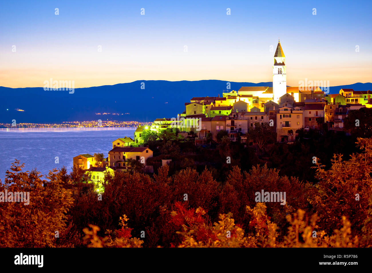Town of Vrbnik on Krk island sunrise view Stock Photo