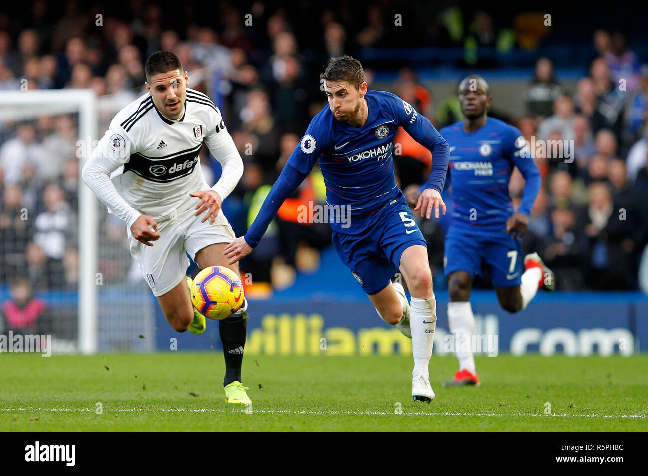 London Uk 2nd Dec 2018 Aleksandar Mitrovi Of Fulham And Jorginho Of Chelsea During The Premier League Match Between Chelsea And Fulham At Stamford Bridge London England On 2 December 2018 Photo