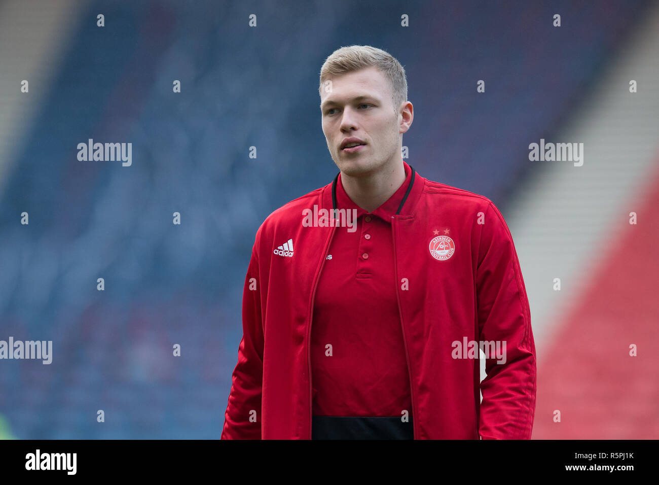 Hampden Park, Glasgow, UK. 2nd Dec, 2018. Scottish League Cup final, Celtic versus Aberdeen; Sam Cosgrove of Aberdeen on the pitch before the match Credit: Action Plus Sports/Alamy Live News - Stock Image