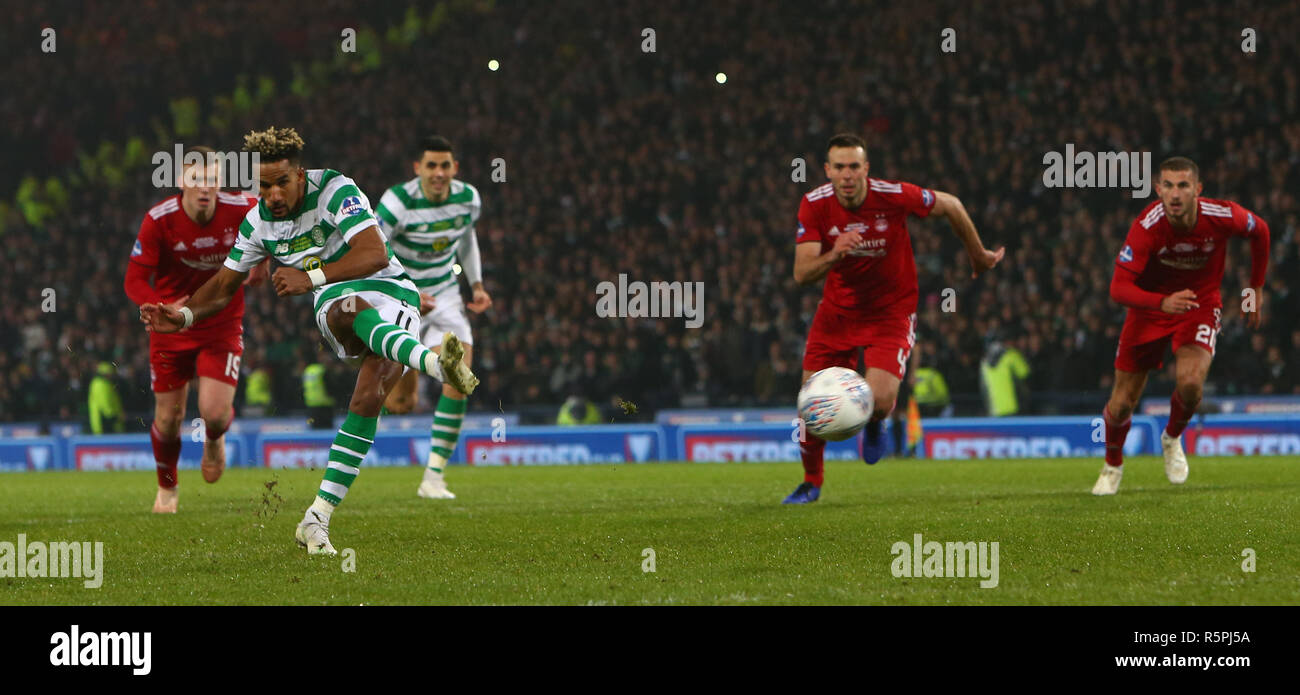 Hampden Park, Glasgow, UK. 2nd Dec, 2018. Scottish League Cup final, Celtic versus Aberdeen; Scott Sinclair of Celtic takes a penalty for Celtic in the 54th minute but Joe Lewis of Aberdeen saves Credit: Action Plus Sports/Alamy Live News - Stock Image