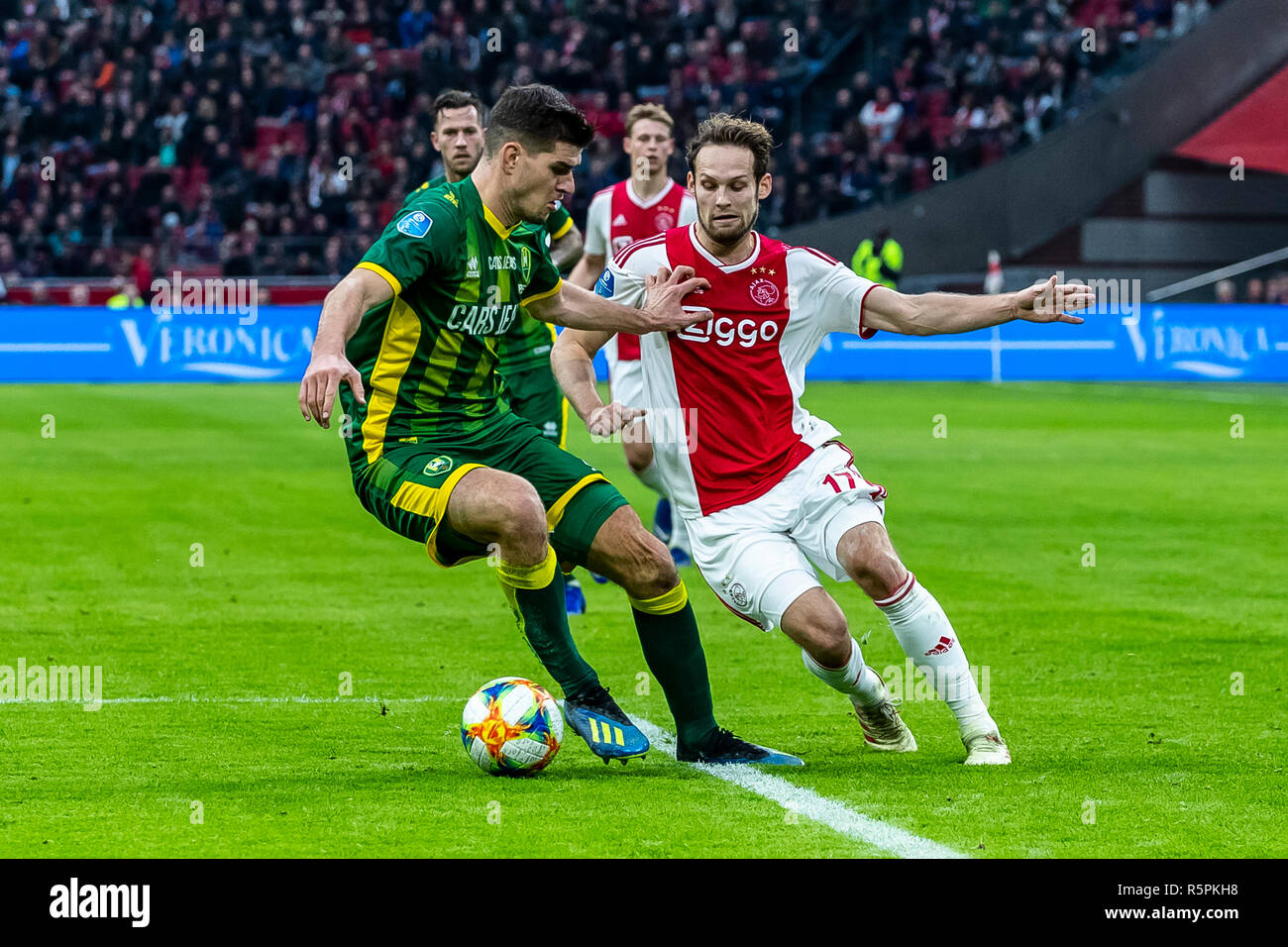 Amsterdam Netherlands 02 12 2018 Football Johan Cruijff Arena Dutch Eredivisie Season 2018 2019 Ado Den Haag Player Nick Kuipers L Ajax Player Daley Blind R During The Match Ajax Ado Final Score 5 1 Stock Photo Alamy