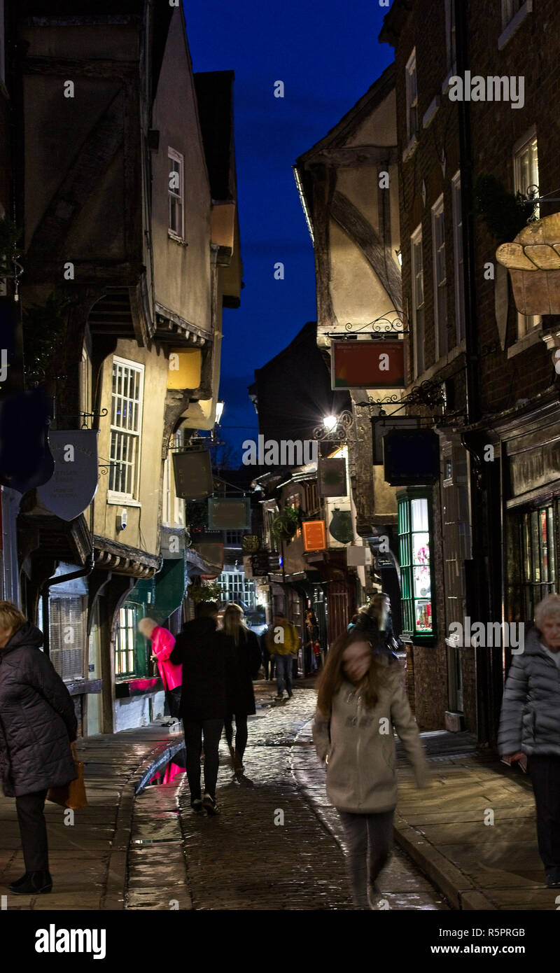 The Shambles at night, York, England, UK. - Stock Image