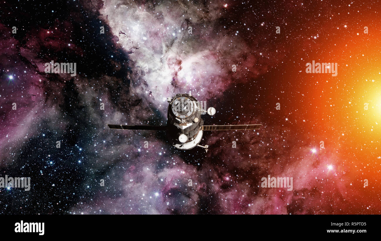 Spacecraft Progress orbiting the earth. - Stock Image