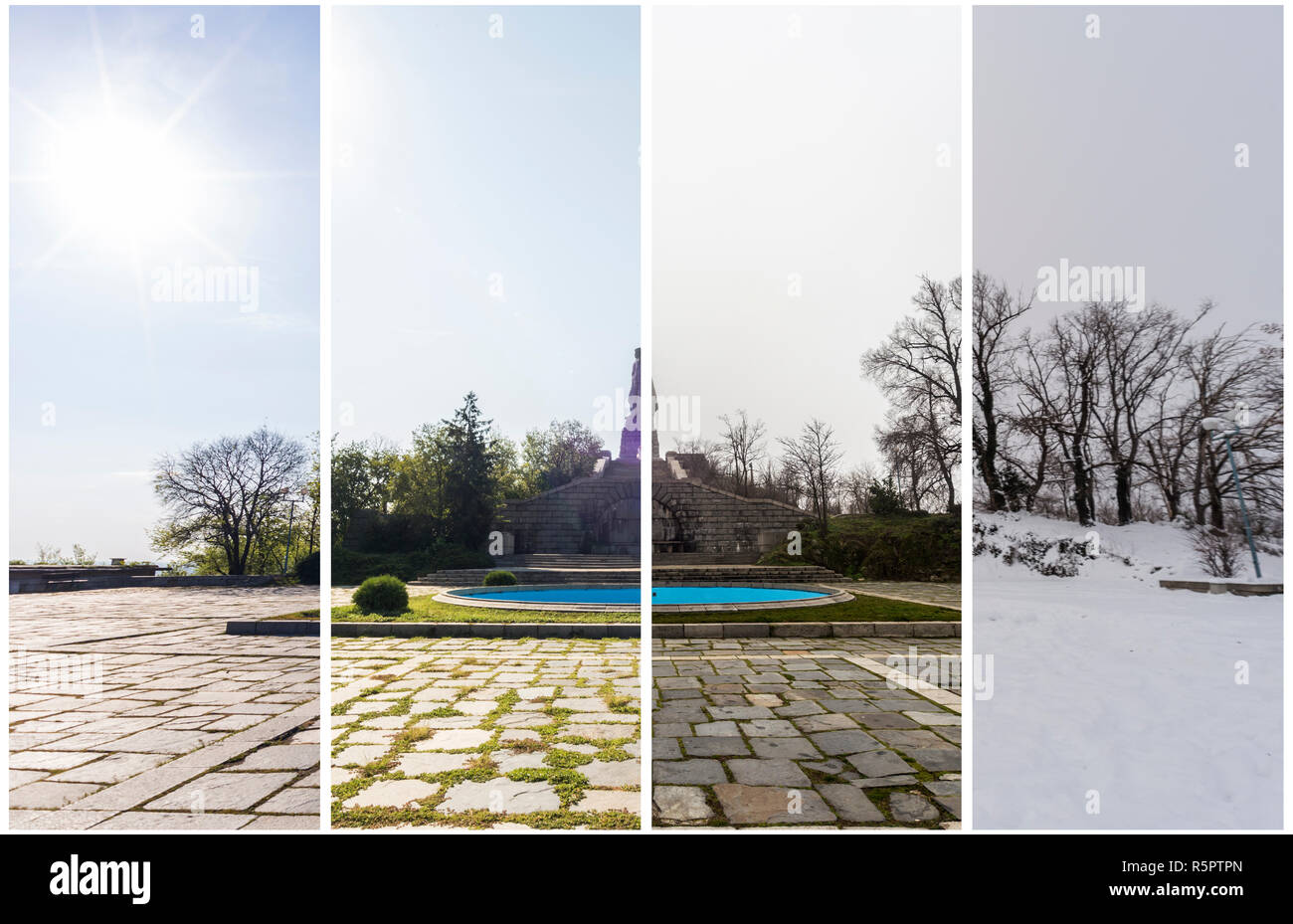 Four seasons concept. The effect of the 4 seasons on the urban environment. Four pictures of one place captured during one year and seamlessly blended Stock Photo