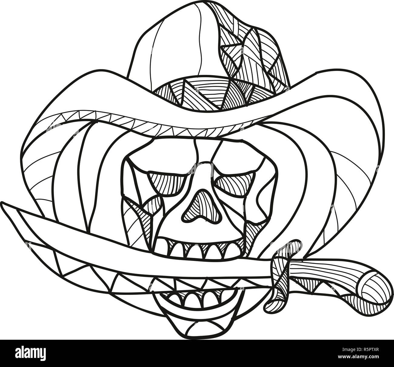 Mosaic low polygon style illustration of a cowboy pirate skull wearing a hat biting a dagger, knife or sword viewed from front on isolated white backg - Stock Vector