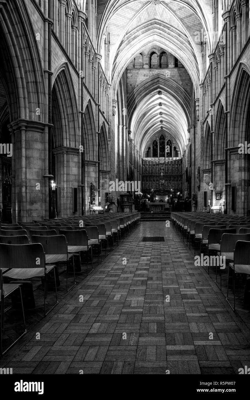 LONDON, UK - FEBRUARY 01, 2017: Interior view of Southwark Cathedral. Built in Gothic style between 1220 and 1420 it has been a place of Christian wor - Stock Image