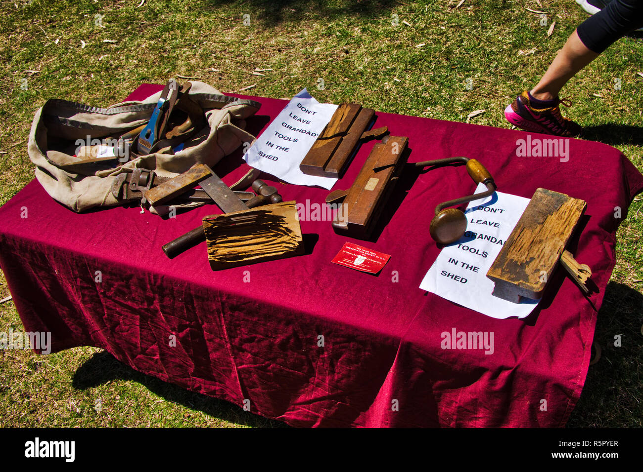 Hand tool preservation society display on have a go day - Stock Image