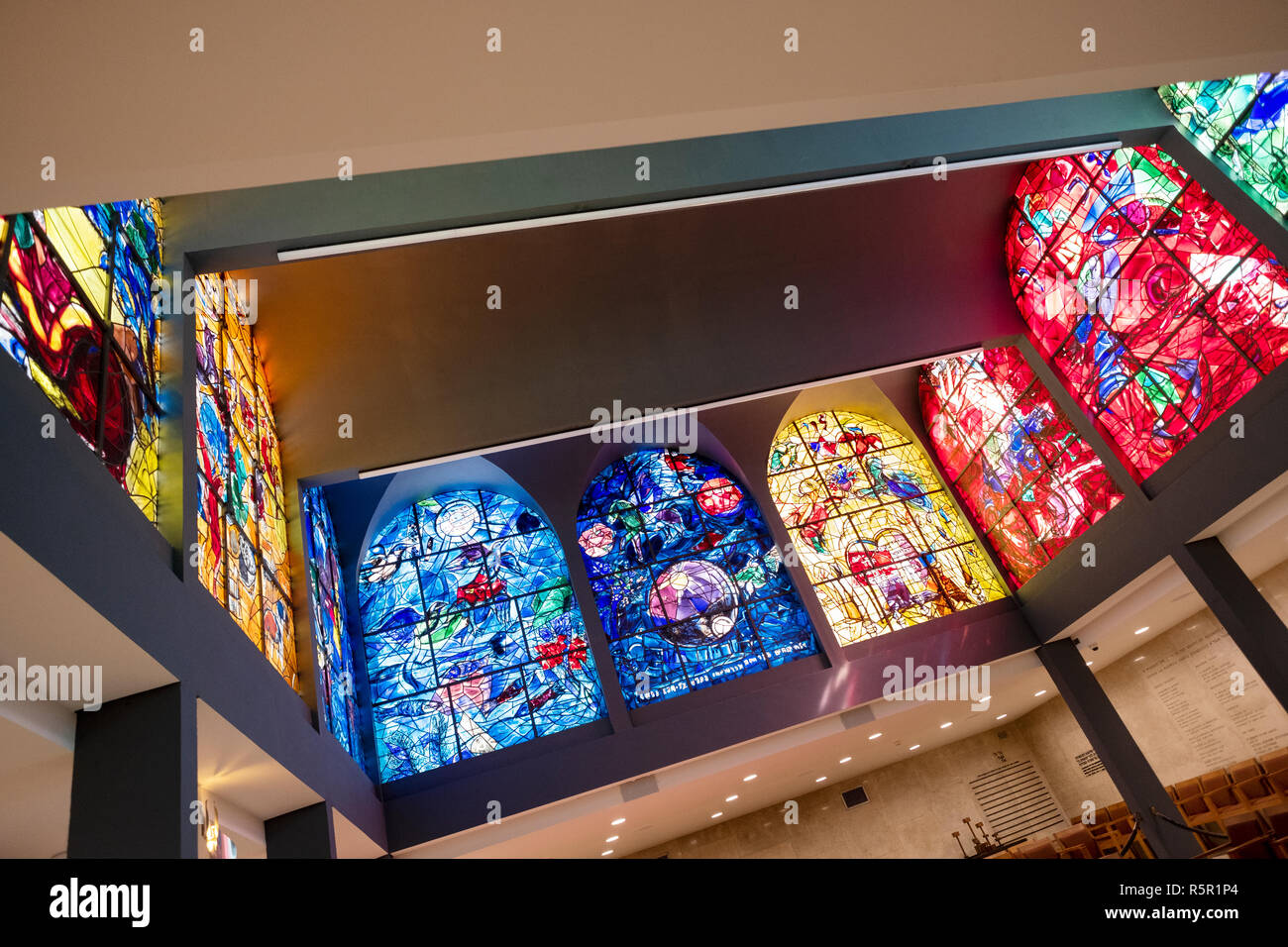 All -  or some - of nine Chagall Windows  at the Abbell Synagogue at the Hadassah University Medical Center in Jerusalem, Israel. - Stock Image