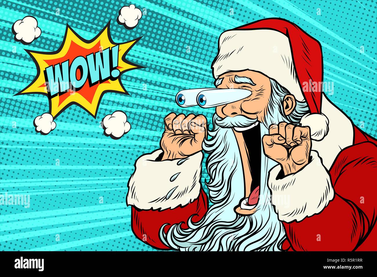 Wow Christmas.Wow Santa Claus Christmas Character Emotional Reaction Stock