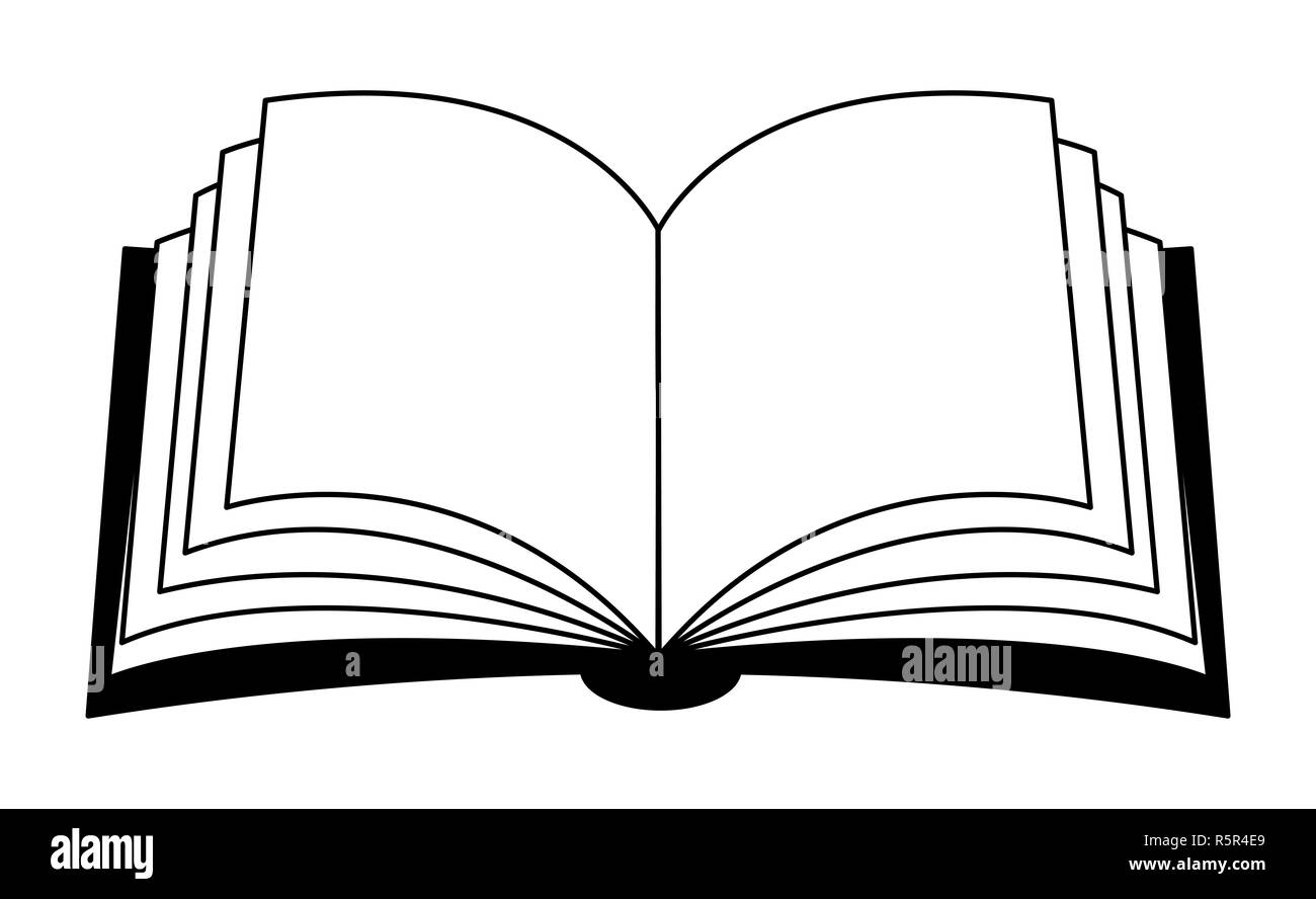 cartoon open book black and white stock photos & images - alamy