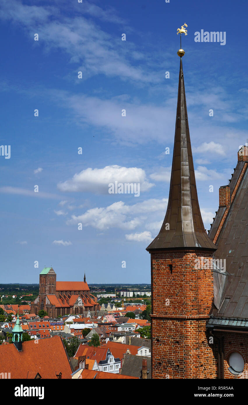 Panorama of Wismar with St. Nikolai and St. Georgen church - Stock Image