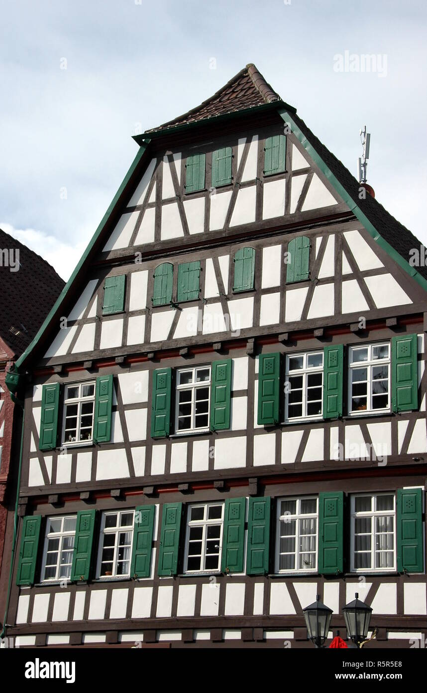 half-timbered house on the market square in bretten Stock Photo