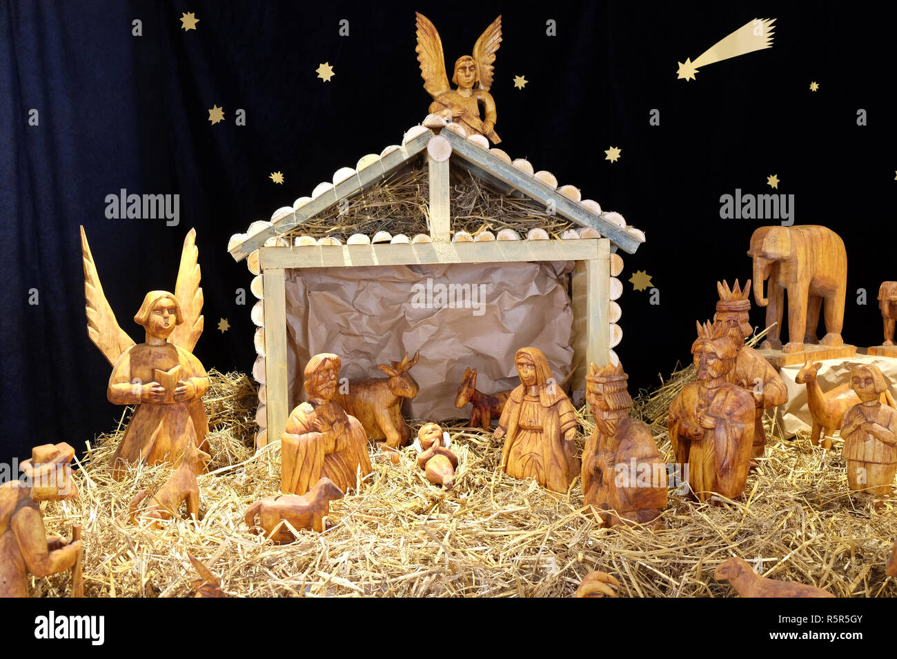 Nativity scene, exhibition of mangers in the gallery Klovicevi dvori in Zagreb, Croatia Stock Photo