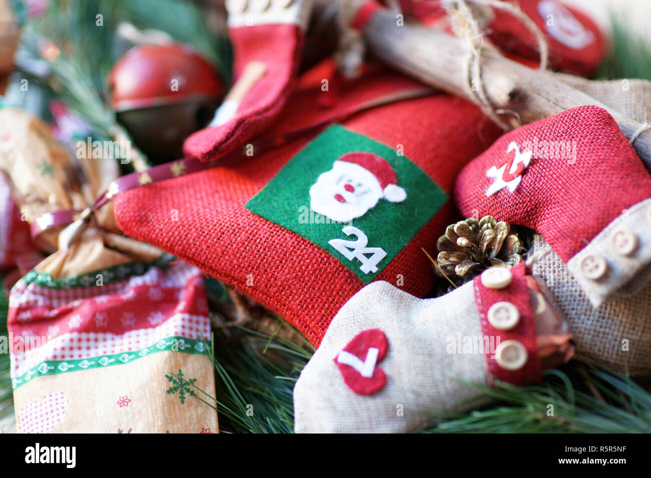 Advent Calendar Self Made 24 December Santa Claus - Stock Image