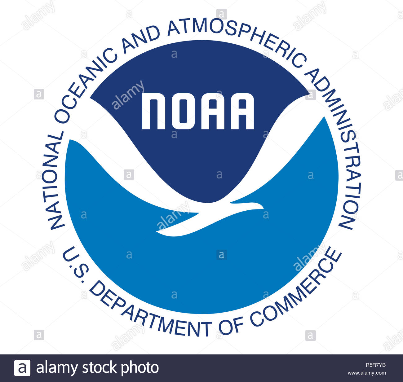 National Oceanic and Atmospheric Administration logo sign - Stock Image