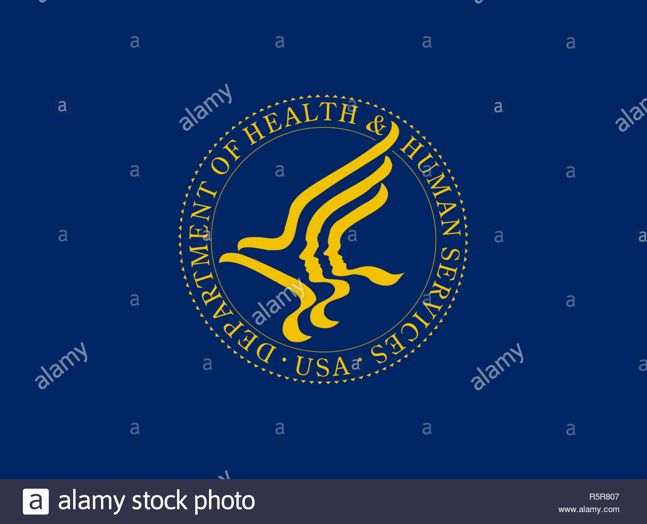 United States Department of Health and Human Services logo sign - Stock Image