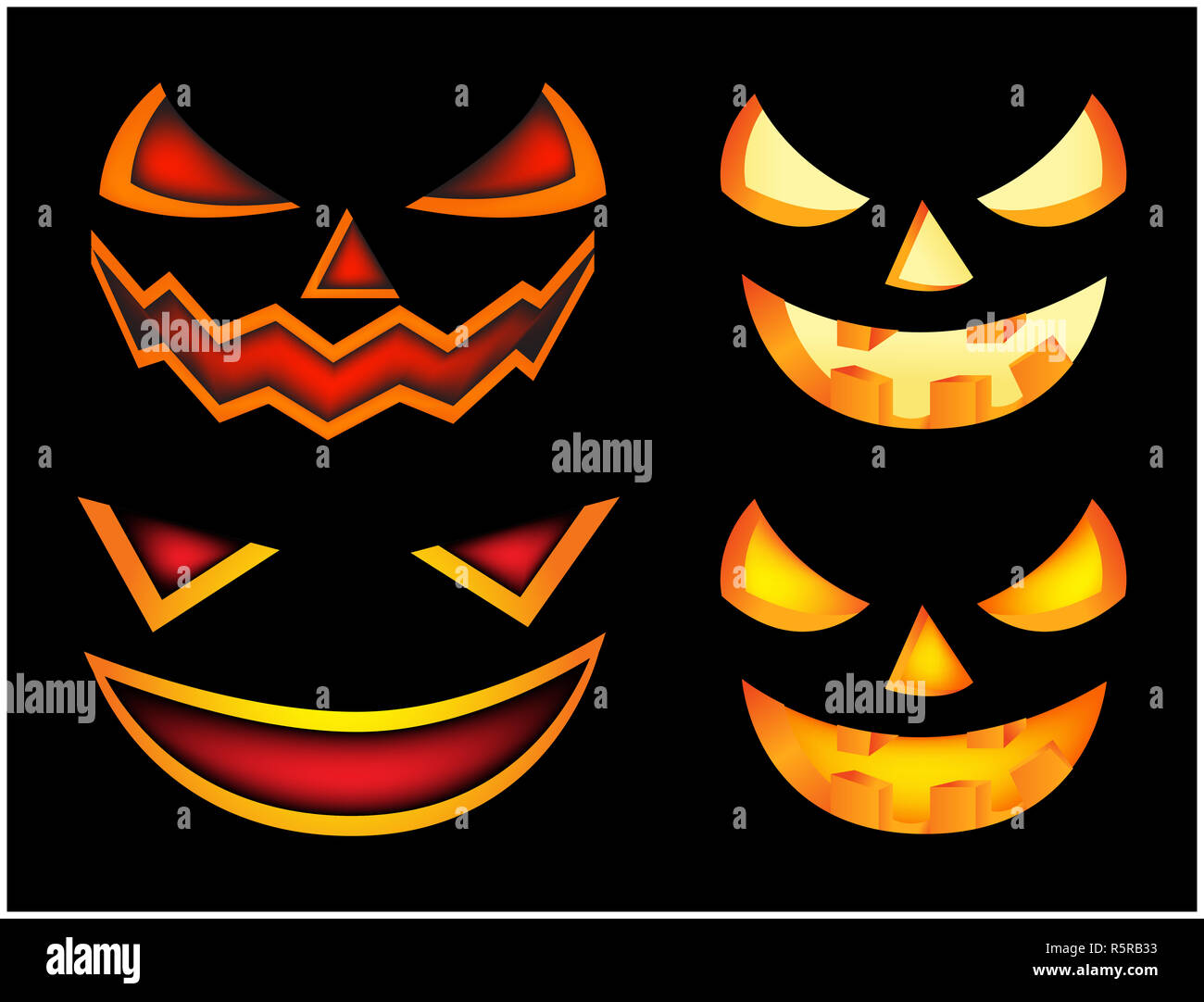 Halloween Scary Pumpkin Face Vector Illustration Set Jack O Lantern Smile Isolated On Black Background Scary Orange Picture With Eyes In The Dark Stock Photo Alamy