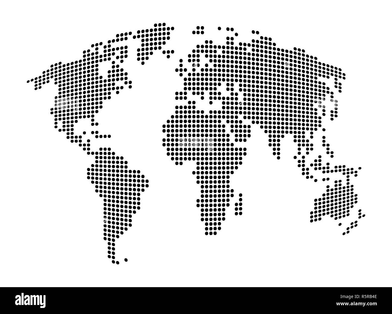 World map - abstract dotted vector background. Black and white ...