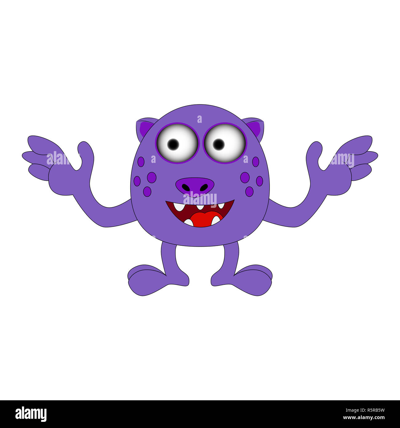 Halloween happy cartoon monster, funny, cute character vector illustration isolated on white background Stock Photo