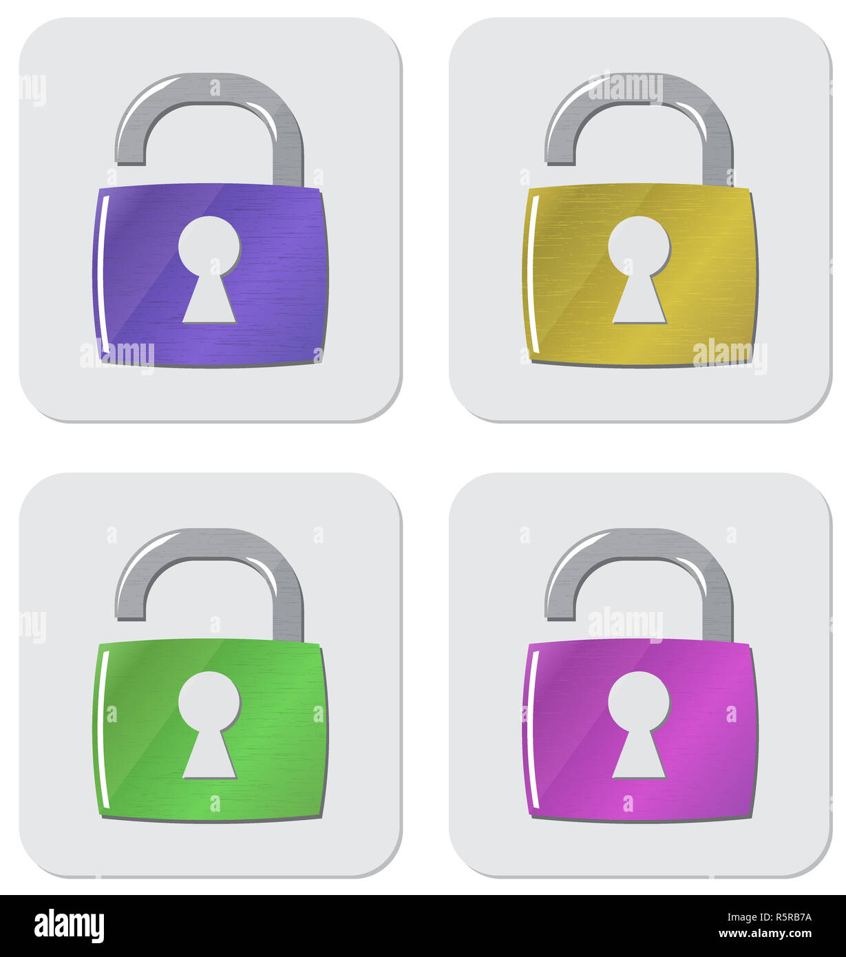 Vector  icon opened padlock set - Stock Image