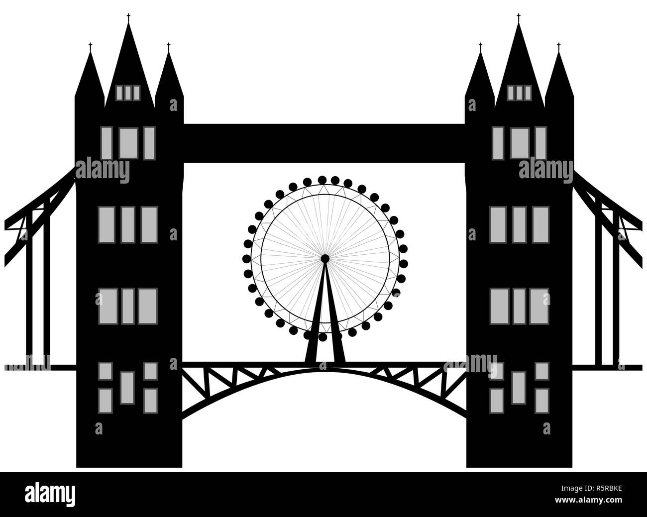 Image of cartoon Tower bridge and london eye  silhouette. Vector illustration isolated on white background. - Stock Image