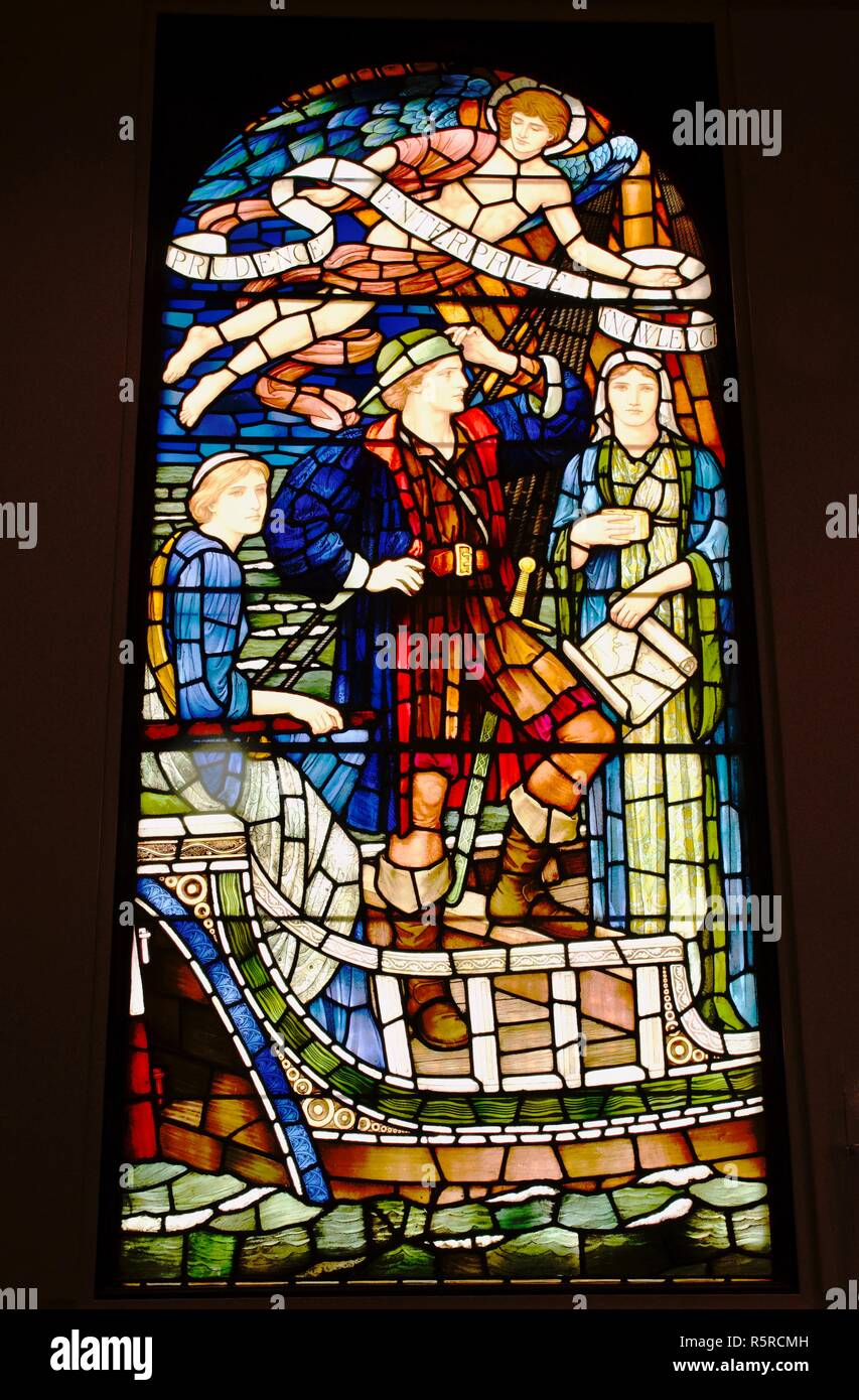 Stained glass window at the Institute of Chartered Accountants, Chartered Accountants' Hall, London - Stock Image