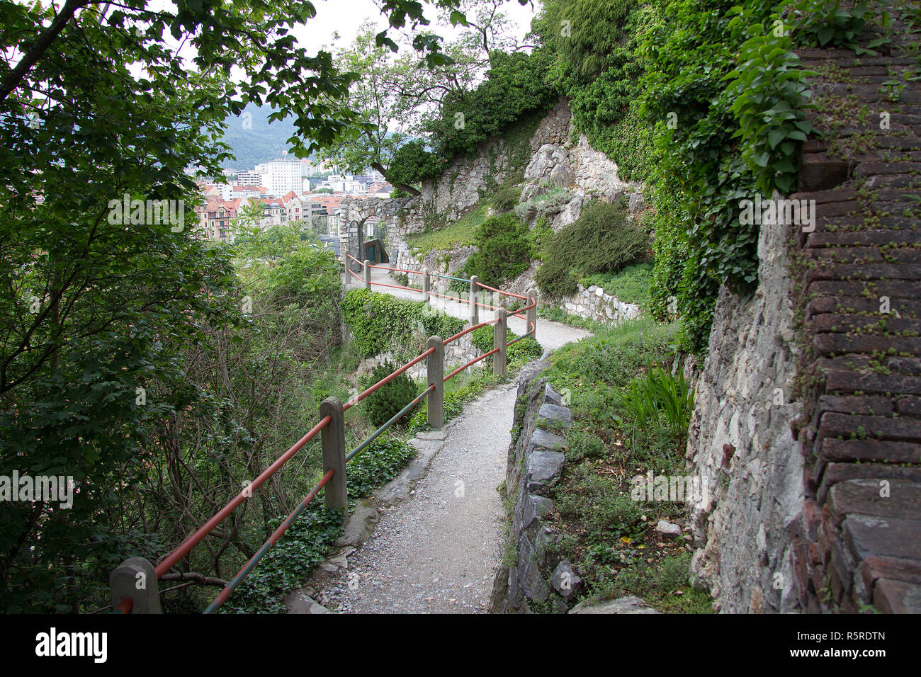 weg am schloßberg in graz without persons in styria on the day - Stock Image
