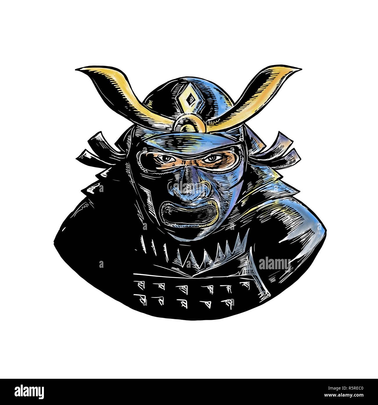 Samurai Wearing Armor Mask Mempo Woodcut - Stock Image