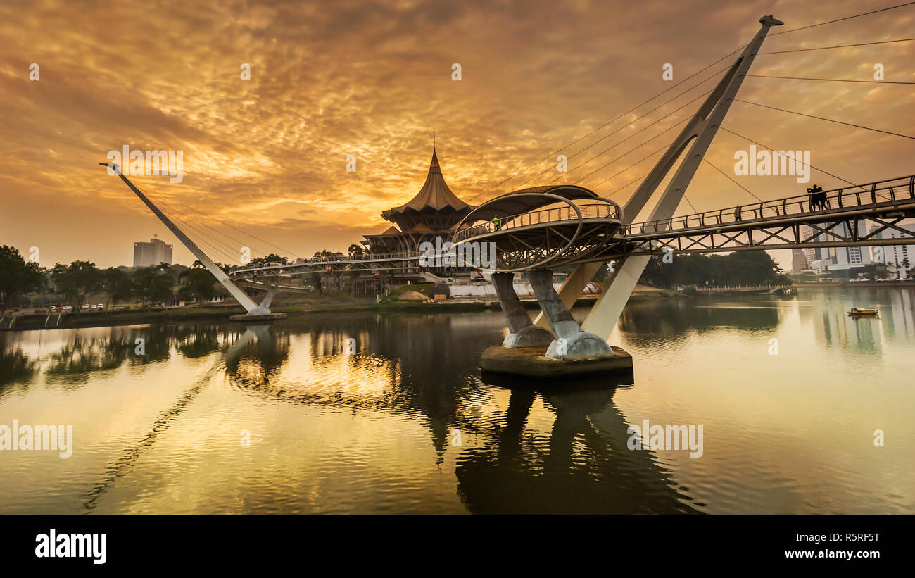 Longest pedestrian brigde Darul Hana ever build in South East Asia located in Kuching Sarawak - Stock Image