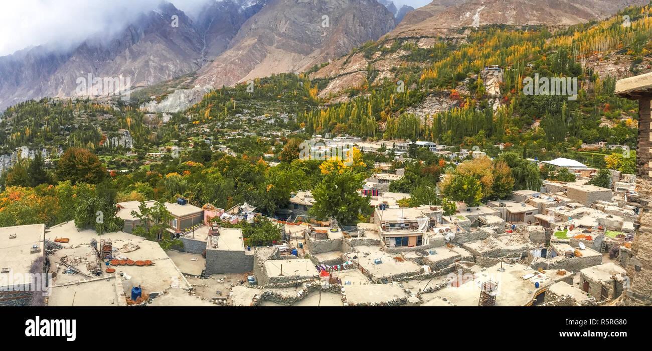 Landscape autumn view of Altit village in Hunza valley. Gilgit Baltistan, Pakistan. - Stock Image
